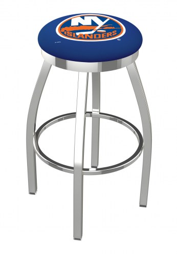 New York Islanders Chrome Swivel Bar Stool with Accent Ring