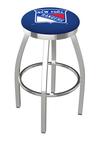 New York Rangers Chrome Swivel Bar Stool with Accent Ring