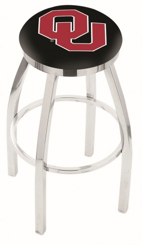 Oklahoma Sooners Chrome Swivel Bar Stool with Accent Ring