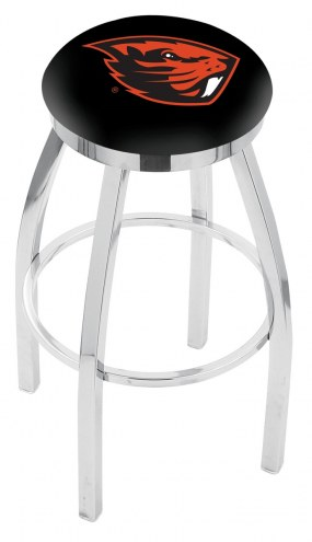 Oregon State Beavers Chrome Swivel Bar Stool with Accent Ring