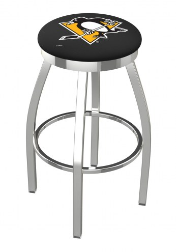 Pittsburgh Penguins Chrome Swivel Bar Stool with Accent Ring