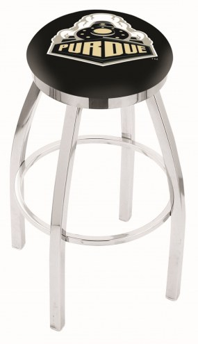 Purdue Boilermakers Chrome Swivel Bar Stool with Accent Ring