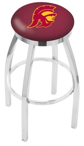 USC Trojans Chrome Swivel Bar Stool with Accent Ring