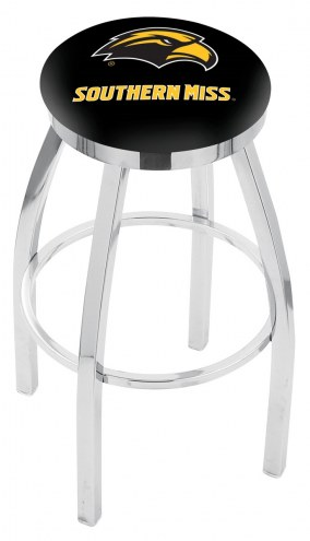 Southern Mississippi Golden Eagles Chrome Swivel Bar Stool with Accent Ring