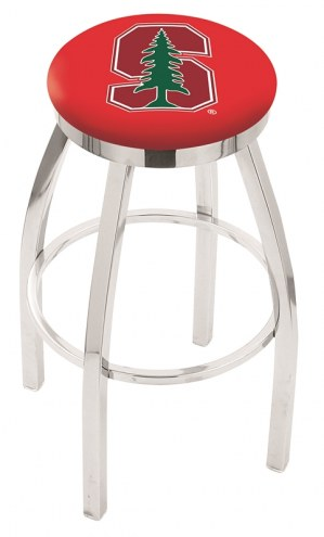 Stanford Cardinal Chrome Swivel Bar Stool with Accent Ring
