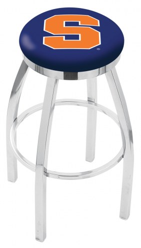 Syracuse Orange Chrome Swivel Bar Stool with Accent Ring