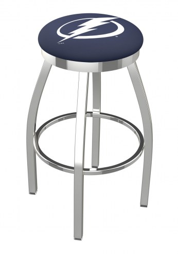 Tampa Bay Lightning Chrome Swivel Bar Stool with Accent Ring