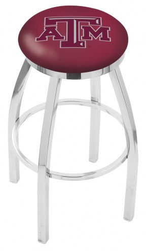 Texas A&M Aggies Chrome Swivel Bar Stool with Accent Ring