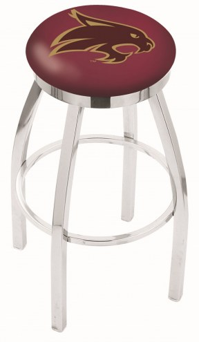 Texas State Bobcats Chrome Swivel Bar Stool with Accent Ring