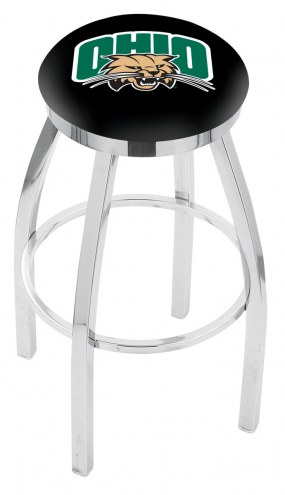 Ohio Bobcats Chrome Swivel Bar Stool with Accent Ring