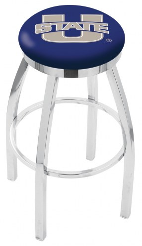 Utah State Aggies Chrome Swivel Bar Stool with Accent Ring