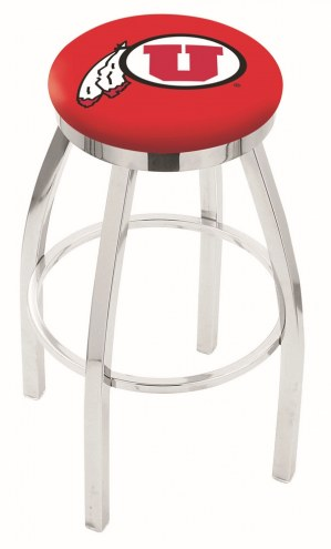 Utah Utes Chrome Swivel Bar Stool with Accent Ring