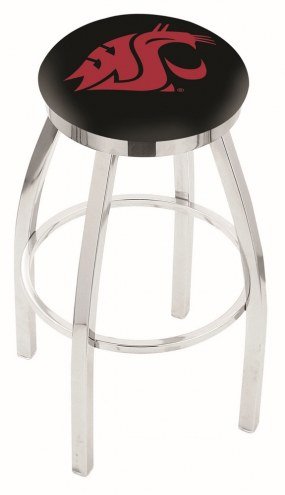Washington State Cougars Chrome Swivel Bar Stool with Accent Ring