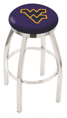 West Virginia Mountaineers Chrome Swivel Bar Stool with Accent Ring