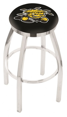 Wichita State Shockers Chrome Swivel Bar Stool with Accent Ring