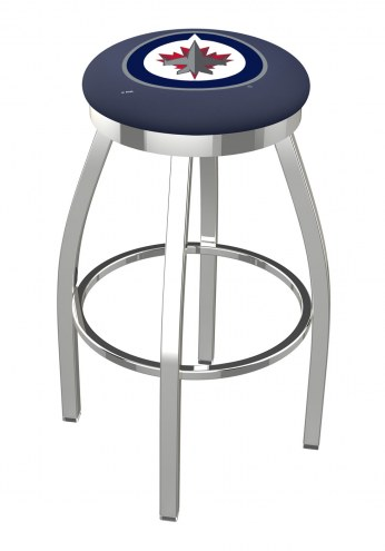 Winnipeg Jets Chrome Swivel Bar Stool with Accent Ring