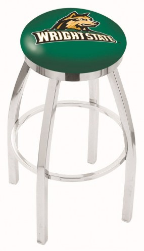 Wright State Raiders Chrome Swivel Bar Stool with Accent Ring