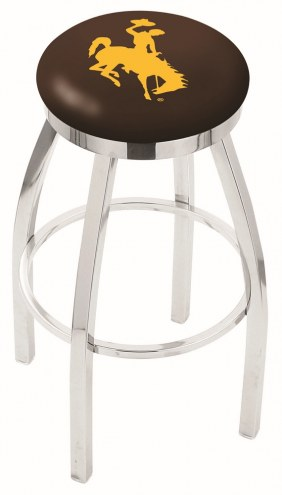 Wyoming Cowboys Chrome Swivel Bar Stool with Accent Ring