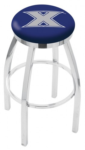 Xavier Musketeers Chrome Swivel Bar Stool with Accent Ring