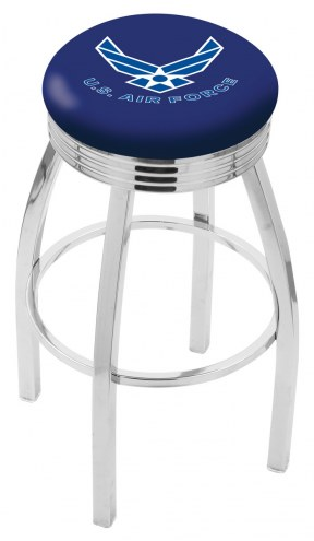 Air Force Falcons Chrome Swivel Barstool with Ribbed Accent Ring