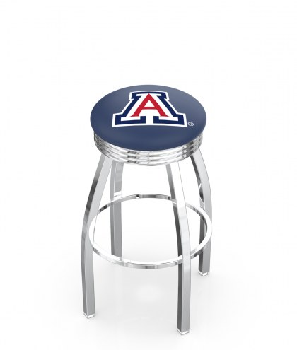 Arizona Wildcats Chrome Swivel Barstool with Ribbed Accent Ring
