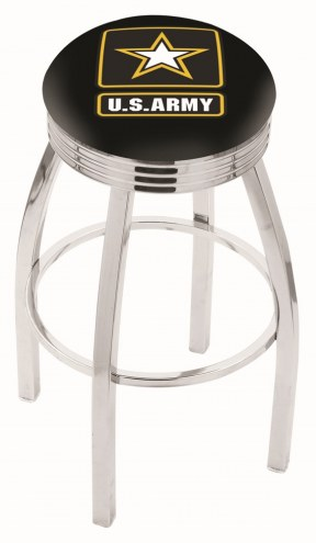 U.S. Army Black Knights Chrome Swivel Barstool with Ribbed Accent Ring