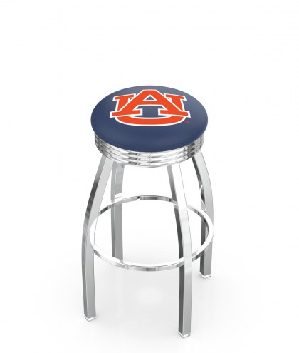 Auburn Tigers Chrome Swivel Barstool with Ribbed Accent Ring
