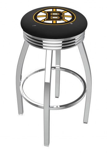Boston Bruins Chrome Swivel Barstool with Ribbed Accent Ring