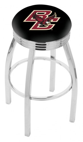 Boston College Eagles Chrome Swivel Barstool with Ribbed Accent Ring