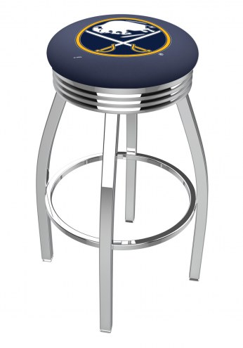 Buffalo Sabres Chrome Swivel Barstool with Ribbed Accent Ring