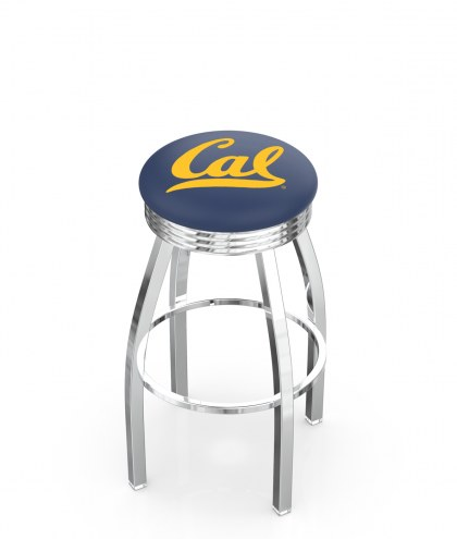 California Golden Bears Chrome Swivel Barstool with Ribbed Accent Ring