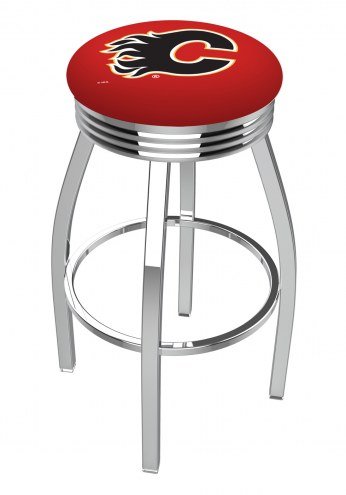 Calgary Flames Chrome Swivel Barstool with Ribbed Accent Ring
