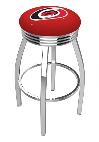 Carolina Hurricanes Chrome Swivel Barstool with Ribbed Accent Ring