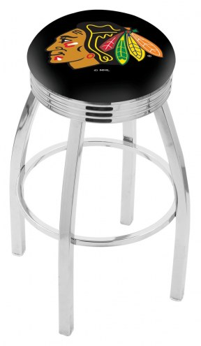 Chicago Blackhawks Chrome Swivel Barstool with Ribbed Accent Ring
