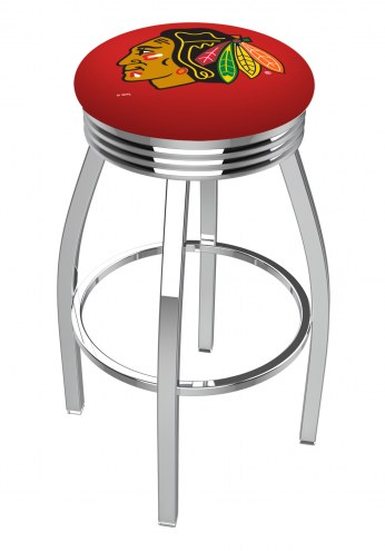 Chicago Blackhawks NHL Chrome Swivel Barstool with Ribbed Accent Ring