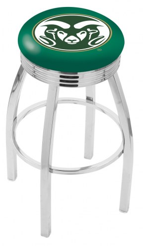 Colorado State Rams Chrome Swivel Barstool with Ribbed Accent Ring