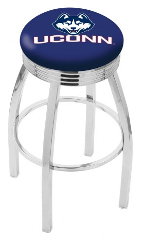 Connecticut Huskies Chrome Swivel Barstool with Ribbed Accent Ring