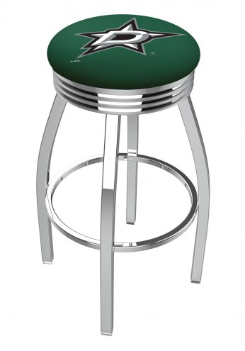 Dallas Stars Chrome Swivel Barstool with Ribbed Accent Ring