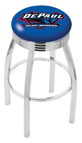 DePaul Blue Demons Chrome Swivel Barstool with Ribbed Accent Ring