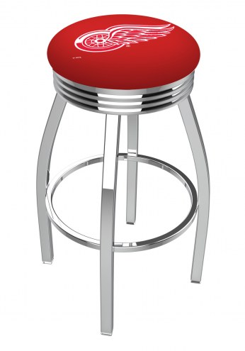 Detroit Red Wings Chrome Swivel Barstool with Ribbed Accent Ring