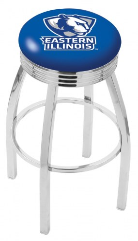 Eastern Illinois Panthers Chrome Swivel Barstool with Ribbed Accent Ring