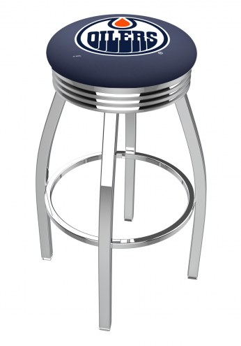Edmonton Oilers Chrome Swivel Barstool with Ribbed Accent Ring