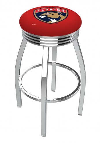 Florida Panthers Chrome Swivel Barstool with Ribbed Accent Ring