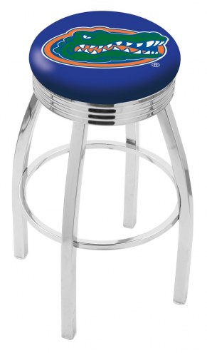 Florida Gators Chrome Swivel Barstool with Ribbed Accent Ring