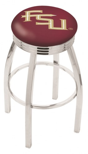 FSU Seminoles Chrome Swivel Barstool with Ribbed Accent Ring