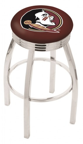 Florida State Seminoles Chrome Swivel Barstool with Ribbed Accent Ring