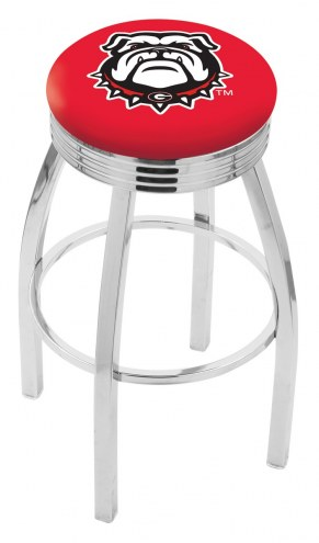 Georgia Bulldogs Chrome Swivel Barstool with Ribbed Accent Ring