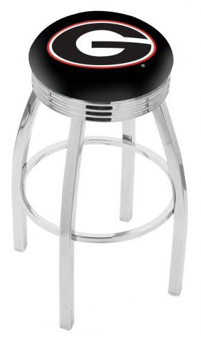 Georgia Bulldogs NCAA Chrome Swivel Barstool with Ribbed Accent Ring