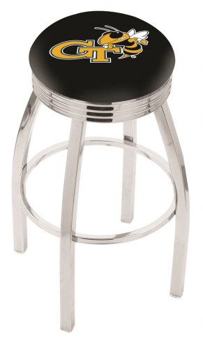 Georgia Tech Yellow Jackets Chrome Swivel Barstool with Ribbed Accent Ring