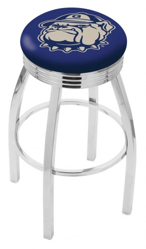 Georgetown Hoyas Chrome Swivel Barstool with Ribbed Accent Ring